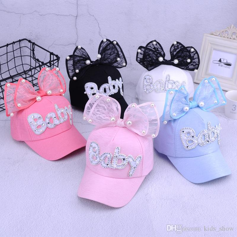 10 styles cute summer baby rabbit ears sun hat newborn adjustable net hats baby big bow baseball cap with pearl decor