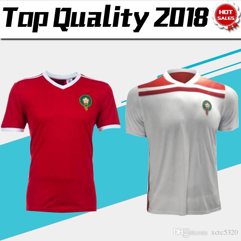 2018 Copa Del Mundo Marruecos Casa Roja Fútbol Jersey Marruecos Equipo De  Fútbol Nacional Camiseta De Fútbol Blanca 2018 Fútbol Marroquí Ventas  Uniformes ... 8b845c922ec07