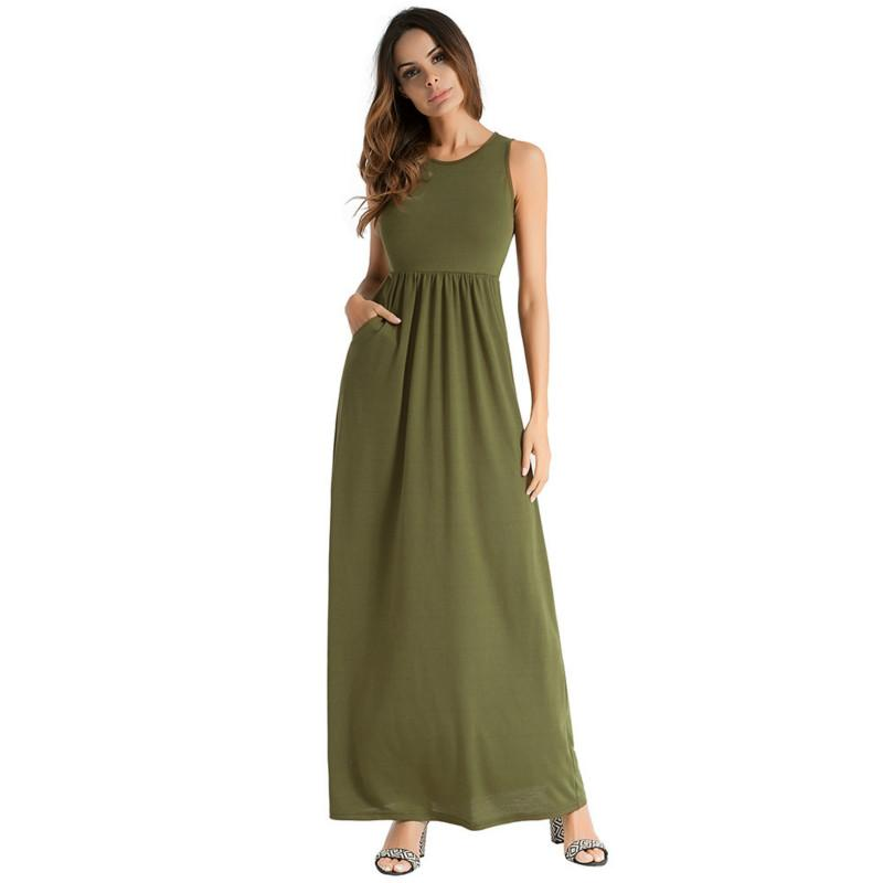b3d1fe6a74b20c Pure Vest Long Dress Women Sleeveless Casual Beach Maxi Dresses Vintage  Pleated Leisure Girls A Line Sundress 2018 Brides Dress Summer Evening  Dresses From ...