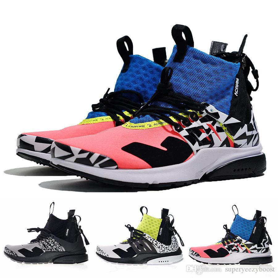 wholesale dealer 679f2 42d47 Acheter Meilleure Qualité Nike Lab ACRONYME X Air Presto Mid V2 Chaussures  De Course Hommes Jaune Noir Blanc Fléchettes Street Sneakers Femmes  Camouflage ...