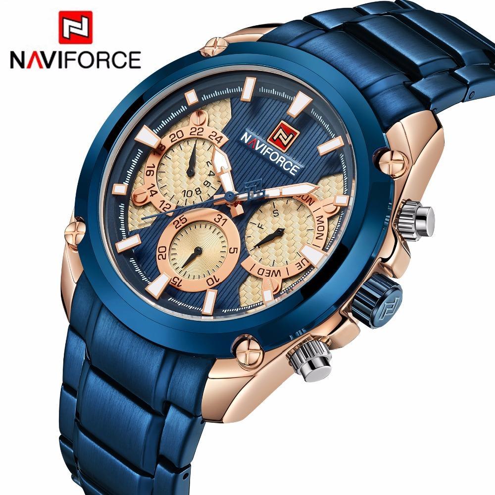 495f747ebf0c Top Brand NAVIFORCE Luxury Blue Gold Watches Men Fashion Sport Quartz  Watches Full Steel Waterproof Watch Relogio Masculino 9113 Watches Online  Buy Online ...
