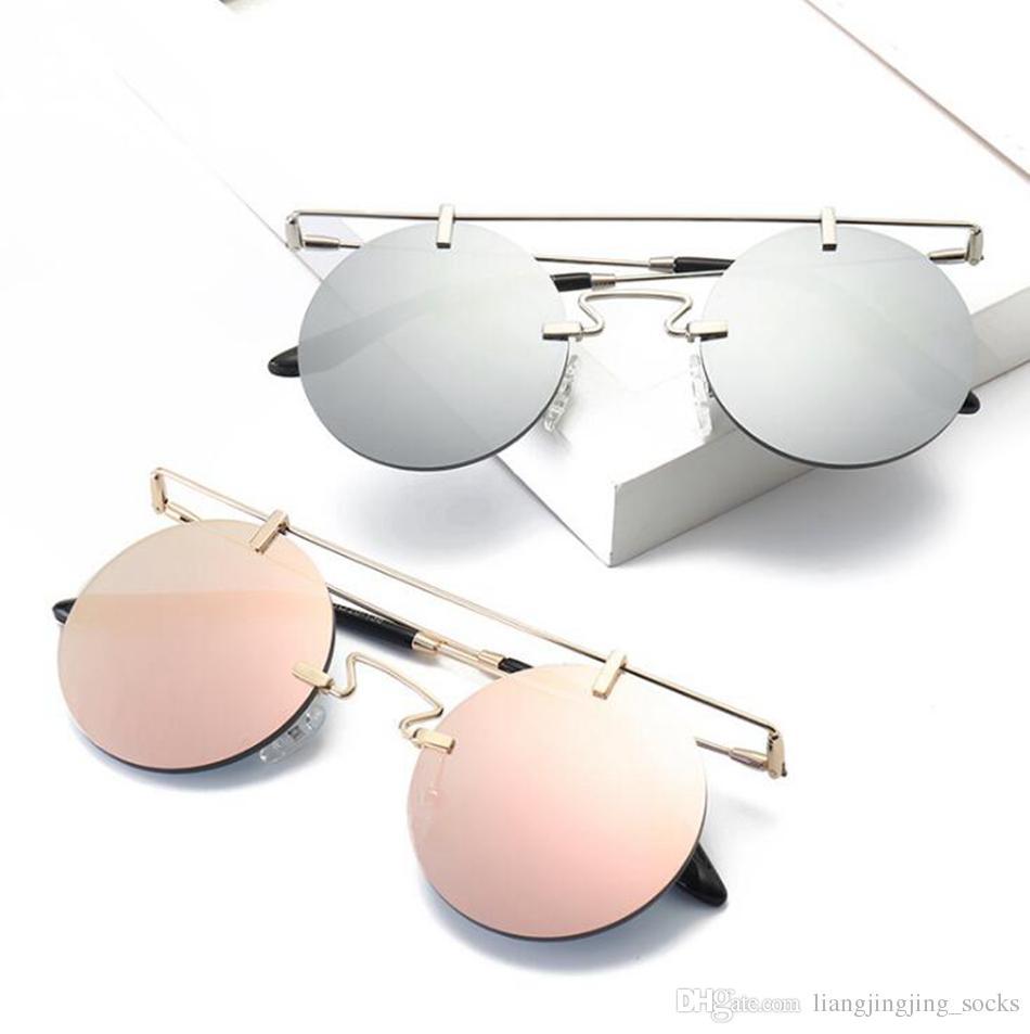 b2efac0b0de Rimless Steampunk Sunglasses Retro Fashion Round Metal Shades Men ...