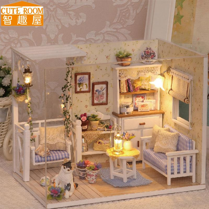 Cute Room Diy Doll House Miniature Wooden Dollhouse Miniaturas Furniture  Toy House Doll Toys For Christmas And Birthday Gift H13 Wooden Dolls Houses  For ...