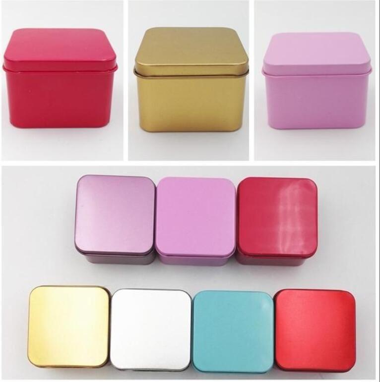 High Quality Colorful Tea Candy Tin Box Jewelry Storage Case Square Metal Mini Candy Box