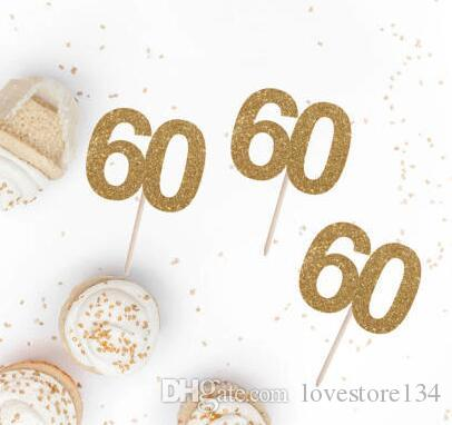 Custom Number Glitter 60th 70th 80th Birthday Cupcake Toppers Baptism Christening Cake Decorations Doughnut Food Picks Party Supplies Boxes