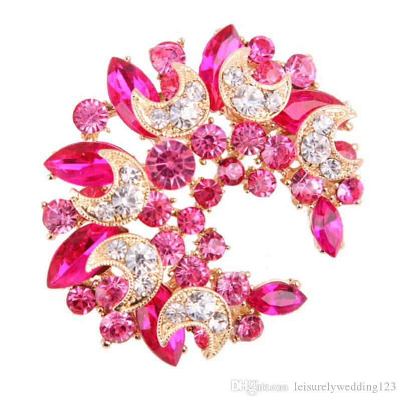Graceful Moon shape rhinestone flower brooch pin for dress accessories jewelry dress brooch pin wedding brooch decoration