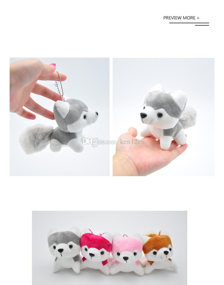 Super Cute 10CM Approx. Husky Dog Plush toys , High Quality Gift Dog Plush Stuffed Toy doll , doggie keychain plush toys