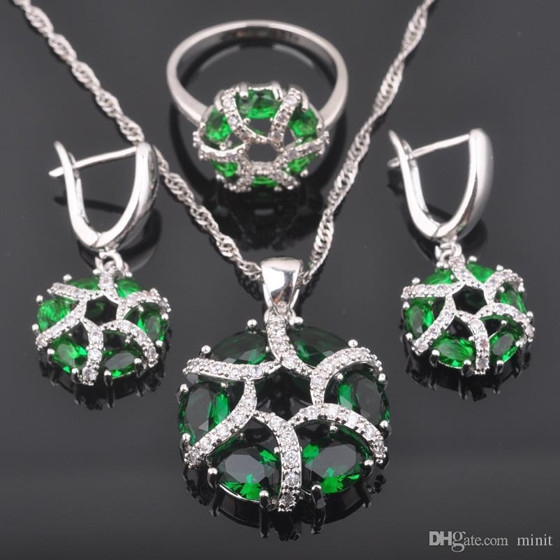 5fedfe3fbd6a Compre FAHOYO 2018 Nuevo Diseño Verde Circón Mujer 925 Joyas De Plata  Establece Pendientes   Colgante   Collar   Anillos QZ0442 A  50.86 Del  Minit