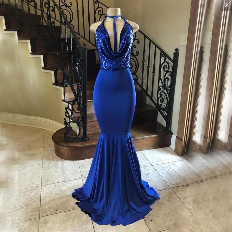 9a8c3bbed8210e ZYLLGF Royal Bleu Sirène Robes De Bal Long Halter Deep V Cou Paillettes Dos  Nu Robes De Soirée Femmes Usure Classique Femmes Robe De Soirée