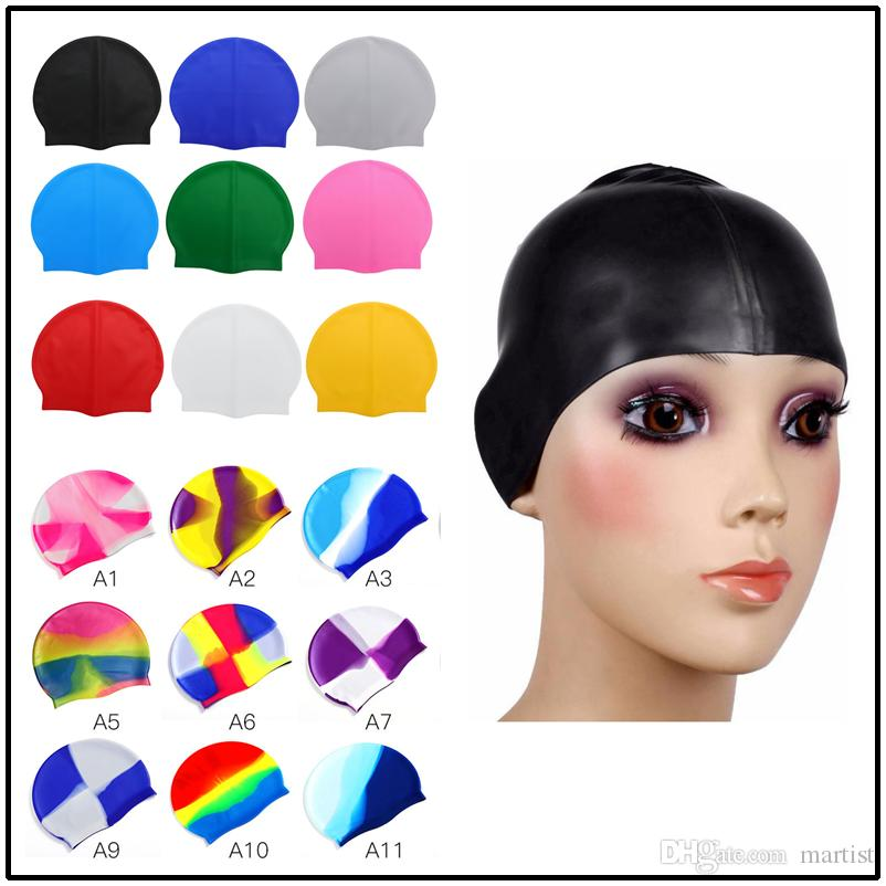 d06f2237 Hot Sale 19.5*22.5cm Silicone Kids Adults Swimming Caps Beanies 29  Rainbow&Solide Colors Swimming Hats for Women Men