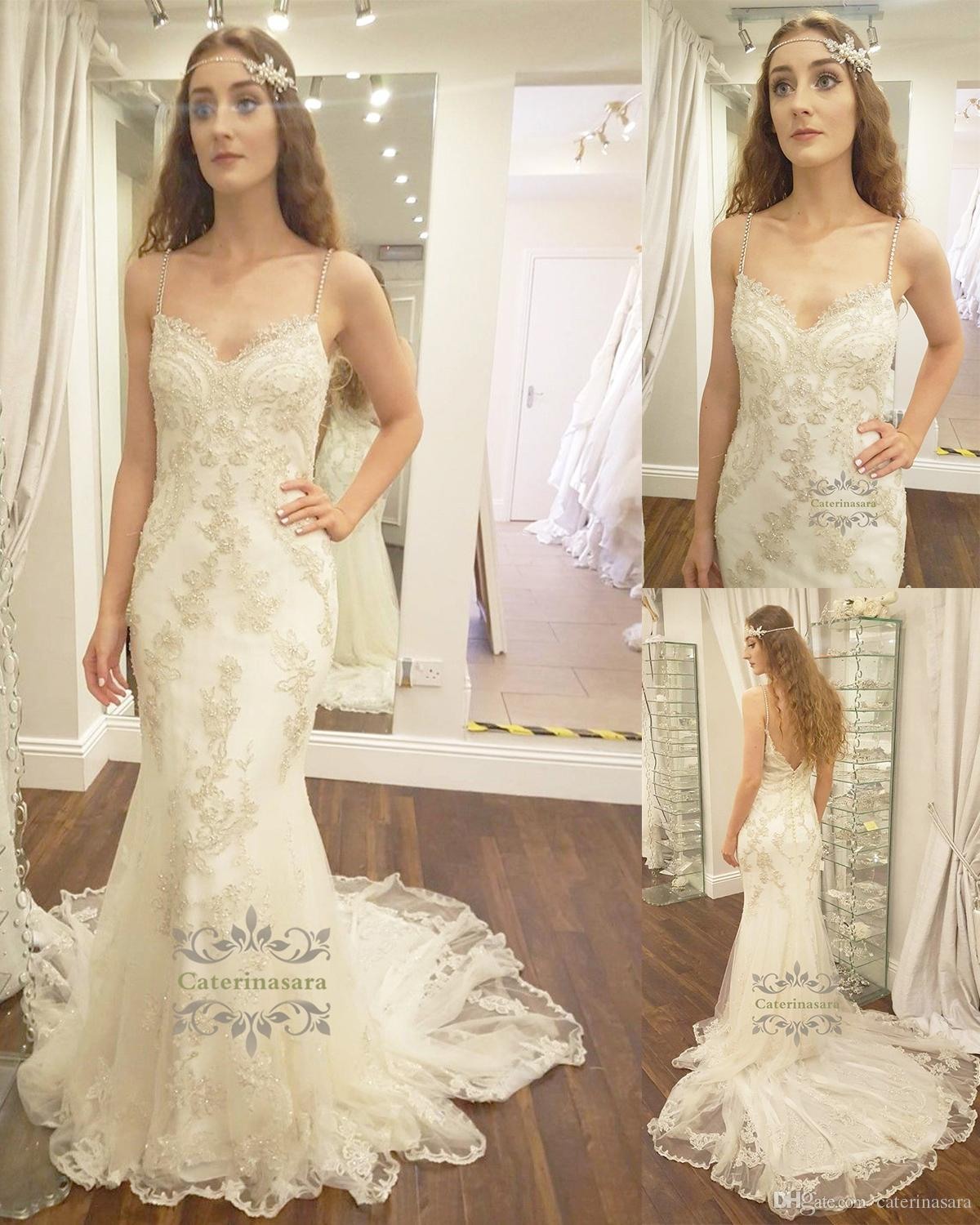 Lace Crystal Straps Wedding Dress Vintage Elegance Mixes With Modern