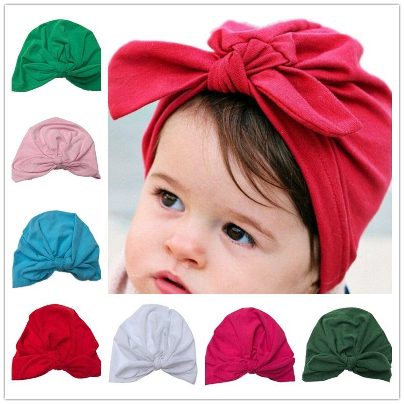 2019 Bnaturalwell Baby Turban Hat With Bow Turbans For Tots Infant ... 56567b5f02f7