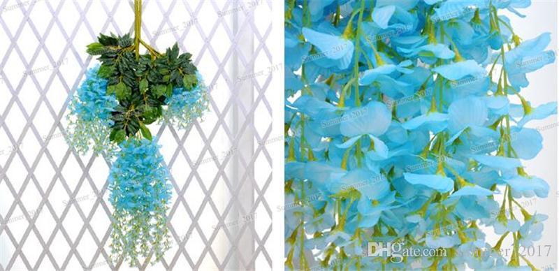 110cm Wisteria Wedding Decor 6 색 인공 장식 꽃 Garlands 파티 웨딩 가정 무료 배송