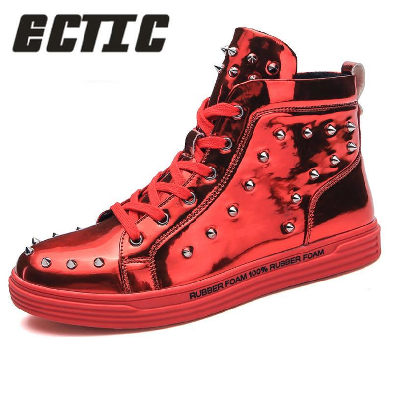 53e6ec8117c2d3 ECTIC 2018 Men S Sneakers RIvet High Top Sequined Cloth Men Flat Shoes  Fashion Men Casual Shoes Zapatos Hombre Mens Flats DP 151 Black Boots For  Women ...