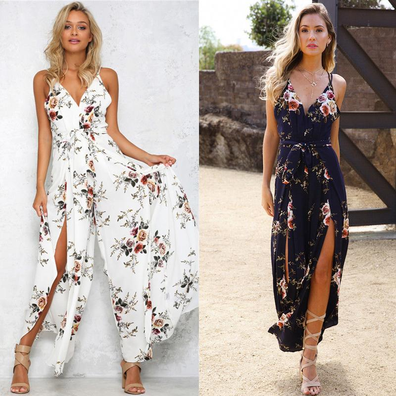 719770ecae 2019 Fashion Sweet Summer Women Ladies Floral Print Jumpsuits 2 Style  Sleeveless V Neck High Waist Wide Leg Pants Jumpsuits From Your09