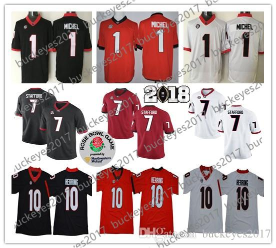 825fd2c2716 Georgia Bulldogs  1 Sony Michel 10 Malik Herring 7 Matthew Stafford Black  Red White Rose Bowl Patch NCAA College Football Jersey 1 Sony Michel  Football ...
