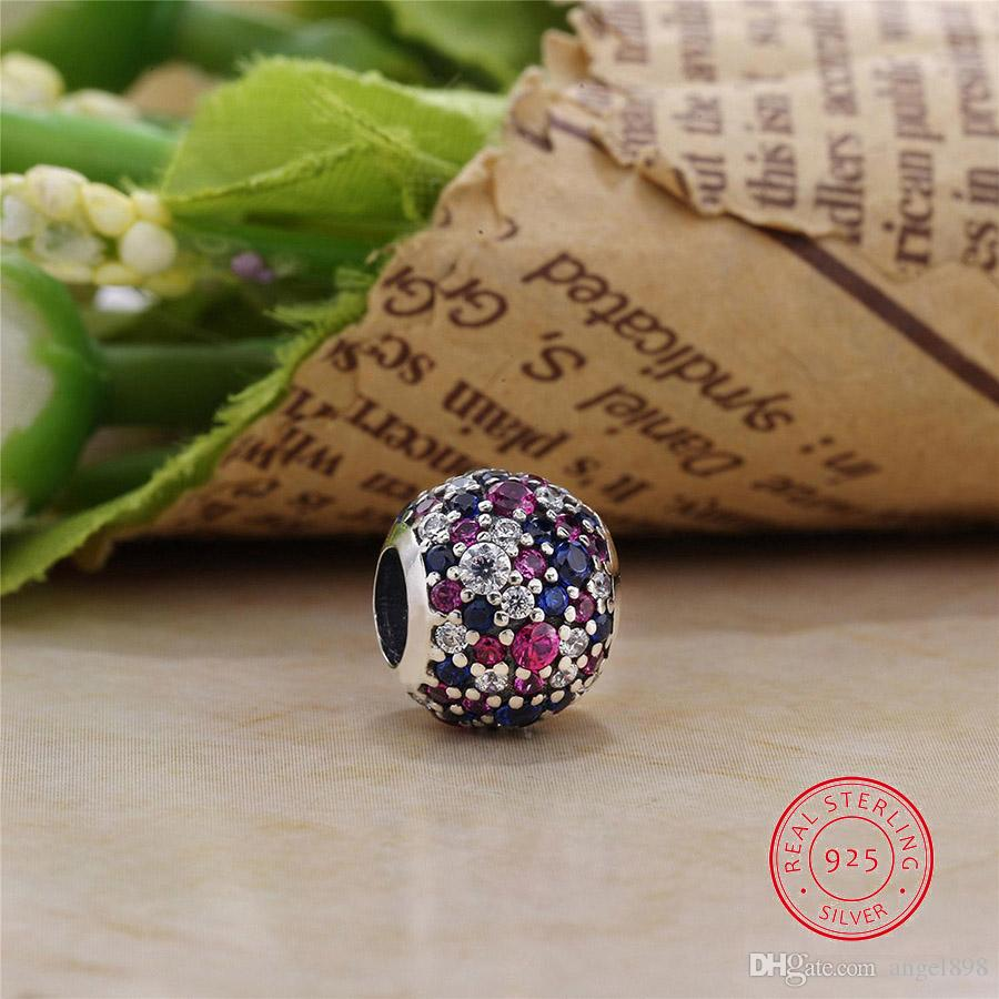 Authentic 925 Sterling Silver Cosmic Stars Purple CZ Fixed Clip Charm Beads fit Original Bracelets Fine Jewelry