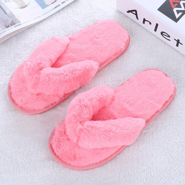 2017 Autumn Winter Women Bedroom Slippers Fur Flip Flops Luxury Indoor Plush Warm Comfortable Flat Heel Shoes Home Flats