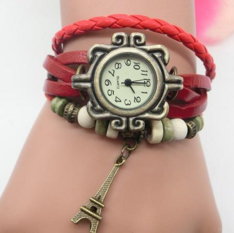 df5052328e9 Compre Nova Moda Pulseira De Couro Do Vintage Torre Eiffel Relógios Casuais Mulheres  Torre Pingente De Relógio De Quartzo Melhor Presente De Kencx