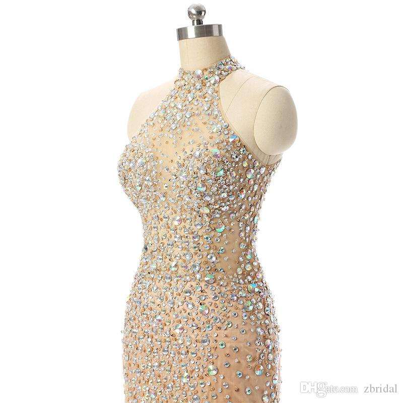 2018 New Design Champagne Short Prom Dresses Sexy Mermaid High Neck See Through Crystals Beads Evening Cocktail Dresses SP351