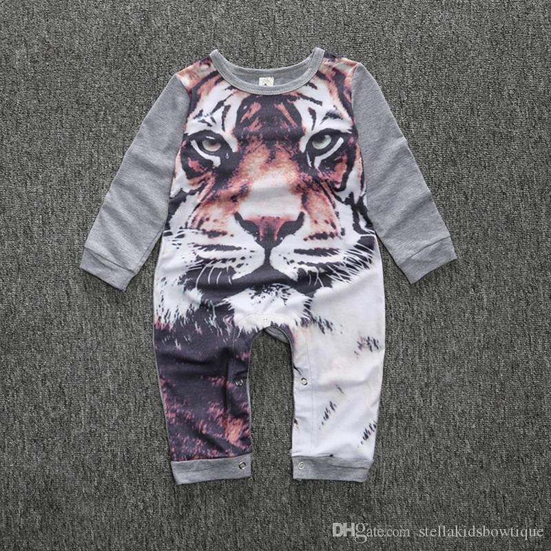 Cute Baby Boys and Girls One-piece Rompers Cartoon 3D Tiger Pattern Children Jumpsuit INS Hot Sales Kids Clothes