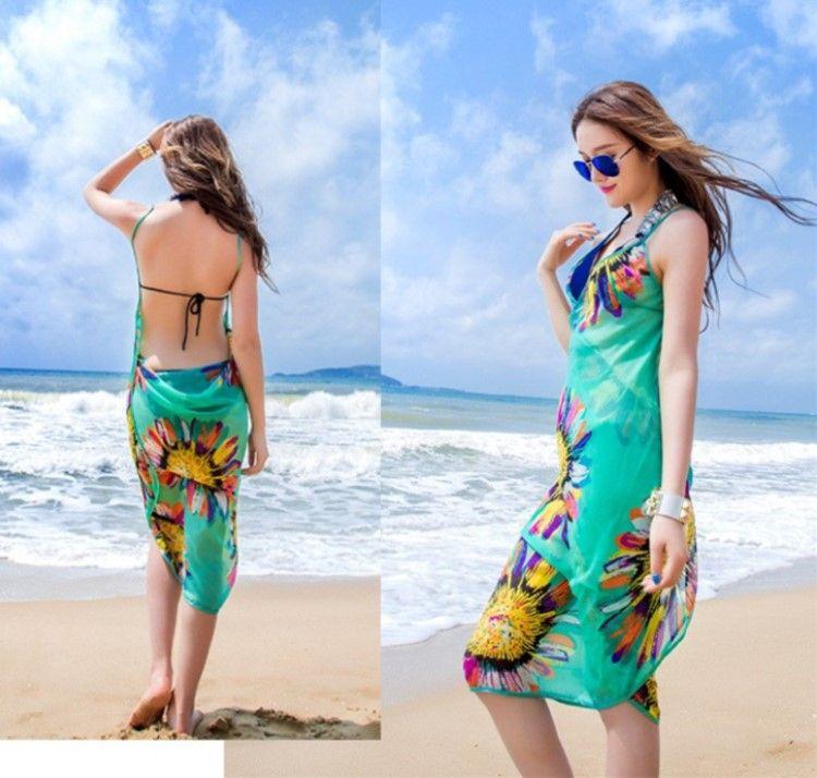 6864548699f90 2019 Women Floral Chiffon Beach Cover Ups Dress Pareo Beach Towel Sexy  Sarong Beach Bikini Wrap Blouse Smock Swimwear Scarf For Lady Girl DHL From  Mara_1, ...