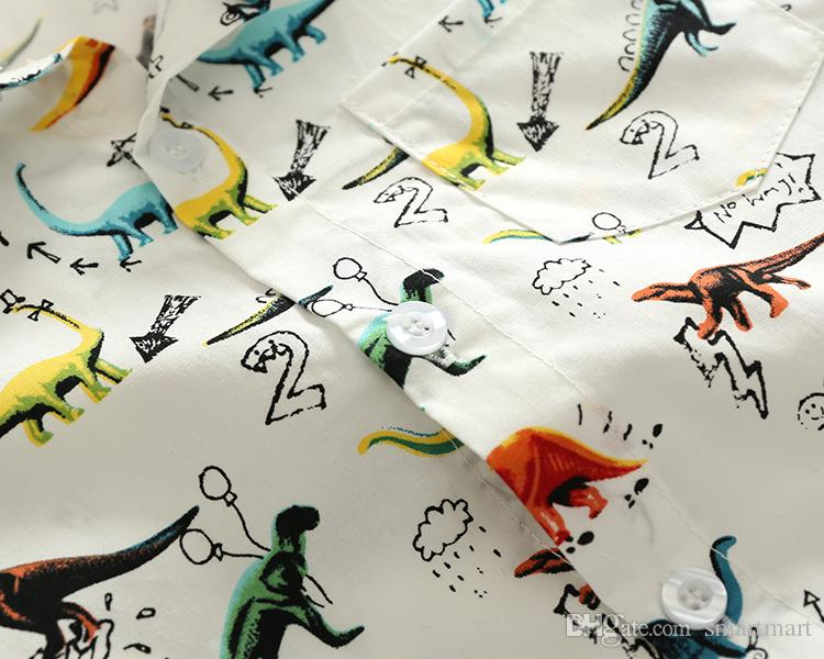 Everweekend Boys Cartoon Dragons Print Summer Shirts Western Vintage Kids Children Fashion Tops Blouse