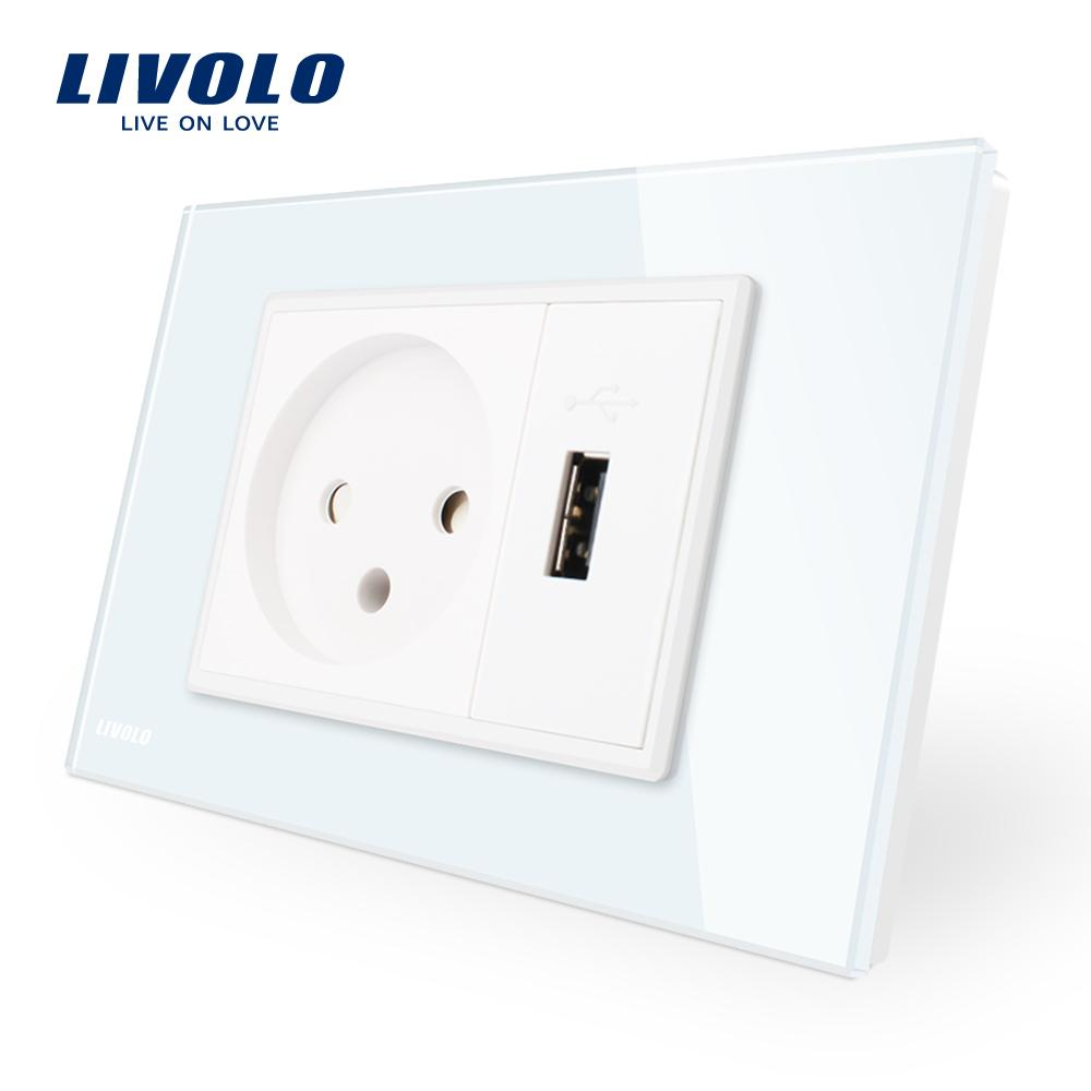 2018 Alivolo Power Socket With Usb Charger White Black Crystal 865 Wiring Diagram Glass Panel Ac 250v16a Wall Vl C9c1il1u 11 12 From Livolo Switch