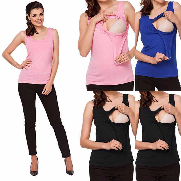 Maternity T-Shirt Summer Vest Pregnant Clothes Top Cotton Breastfeeding T Shirt Nursing Women Maternity Vests