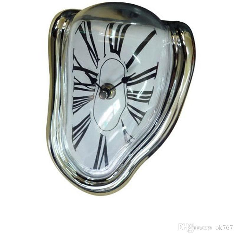 Wholesale-Retro Distorted Clock Right Angle Wall Clock Modern Design Melting Time Seated Clocks Home Decor Accept retro clock