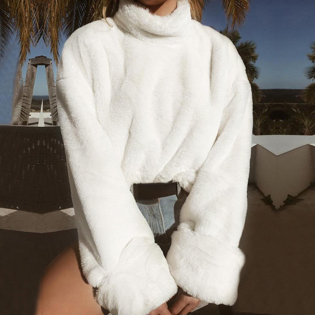 Acquista Chic Maglione A Collo Alto Maglioni Donna Top Autunno Inverno  Peluche Caldo Soffice Maglione Moda Donna Sciolto Bianco Pullover  Streetwear A  32.02 ... d82c0c44e12