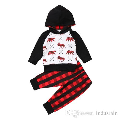 bf5e19d44 Newborn Infant Baby Boy Girl Clothes Hooded Tops Pants Outfits Set Toddler Boys  Girls Plaid Toddler Sweatshirt Clothing Set Online with $16.0/Piece on ...