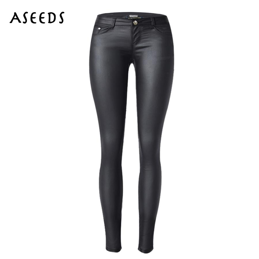 ceb06c0c03c419 2019 Low Waist Women Leather Pants Jeans Sexy Stretch Elastic Faux Leather  Jeans Slim Skinny Pencil Pants Washed Coated 2017 From Michalle