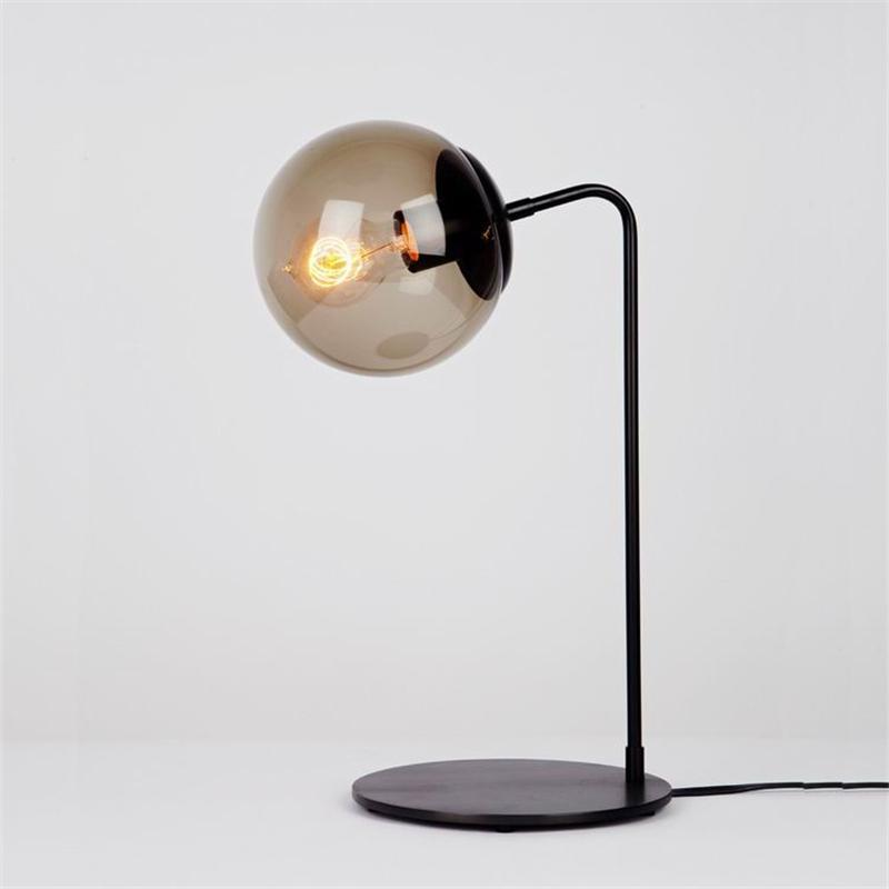 2019 Black Metal Modern Glass Ball Table Lamp Bedroom Global