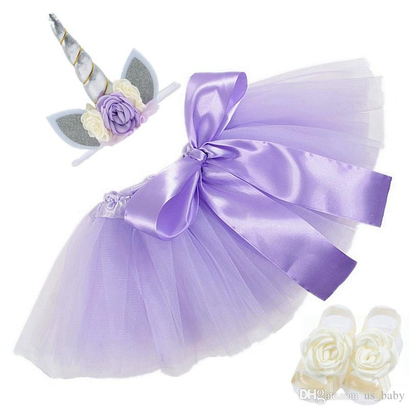 Baby set Newborn Tutu Skirt + Unicorn Headband + Foot Flower photography props Baby Girls Birthday gift Outfit