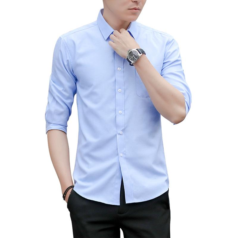 0cc85510c2c 2018 Summer Casual Man Oxford Spinning Seven Part Sleeve Male Korean Self  Cultivation Short Shirt New Arrivals Hot Sale UK 2019 From Karel