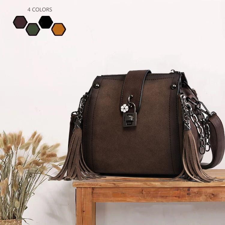 Vintage Women Crossbody Handbags With Lock Tassel Fringe Leather Messenger Bags  Faux Suede Shoulder Bag BK003 Women Bucket Bag Handbags for Women Fringe ... 8c7bd3a7a9