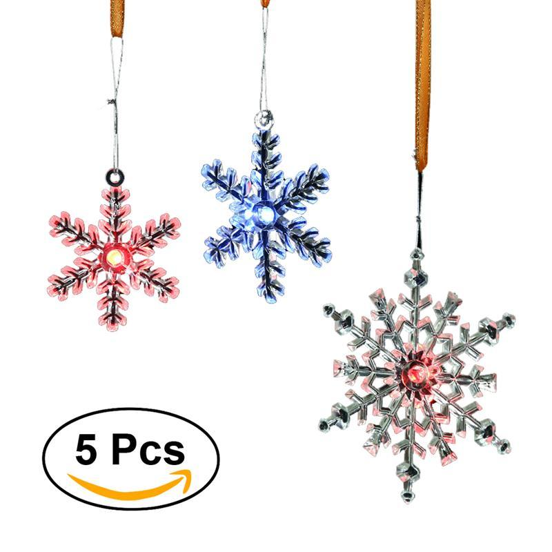 5pcs led lighted christmas plastic snowflake ornament creative hanging sparkling snowflake ornament - Hanging Lighted Christmas Decorations