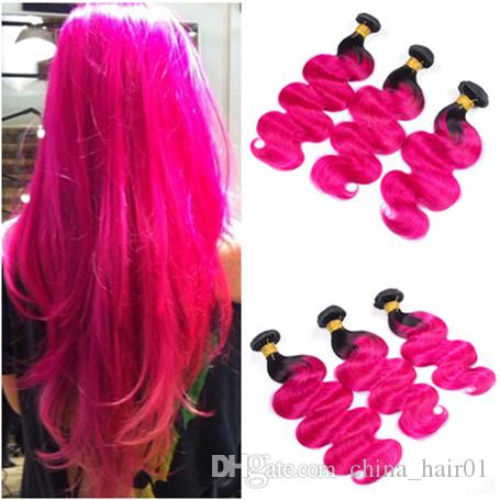 Body Wave Peruvian Ombre Hot Pink Human Hair Weaves Double Wefted 3Pcs Dark Root#1B/Hot Pink Ombre Virgin Human Hair Bundles Deals