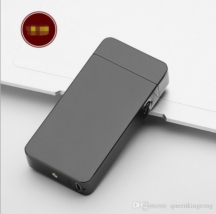 Accendino elettronico DUAL Arc antivento ultra-sottile Metal Pulse USB ricaricabile senza fiamma sigaretta elettronica accendisigari