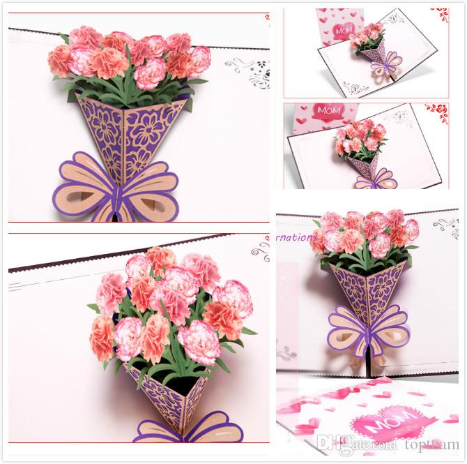 new design mothers day three dimensional greeting card creative 3d carnation bouquet handmade gifts wishes small cards can be customized customizable - Mother039s Day Greeting Card Messages
