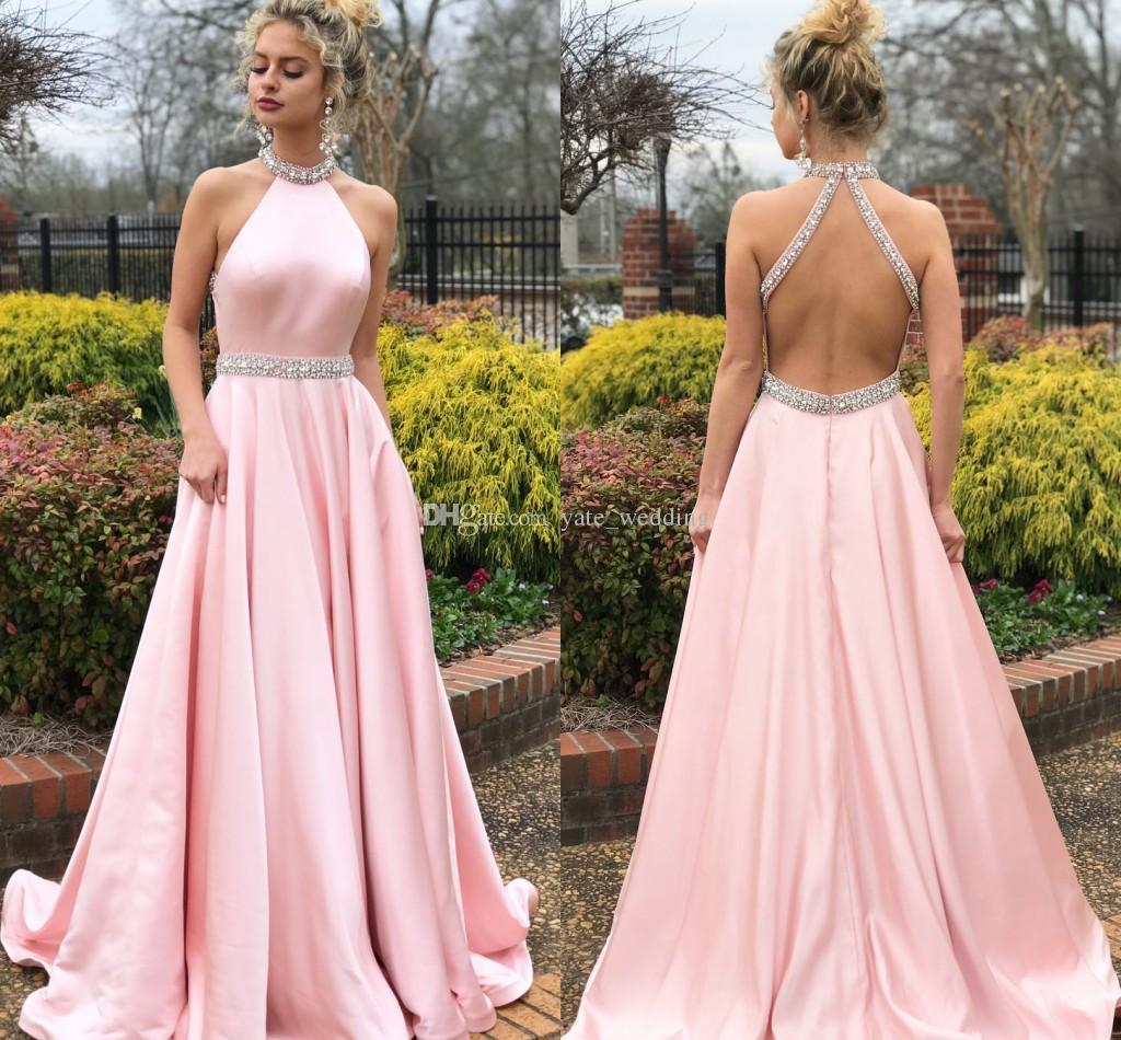 781f532ba 2018 Pink Halter Prom Dresses Beaded Neck Satin Floor Length Backless  Graduation Homecoming Dresses Formal Prom Dress Long Prom Dresses Under 100  Mermaid ...