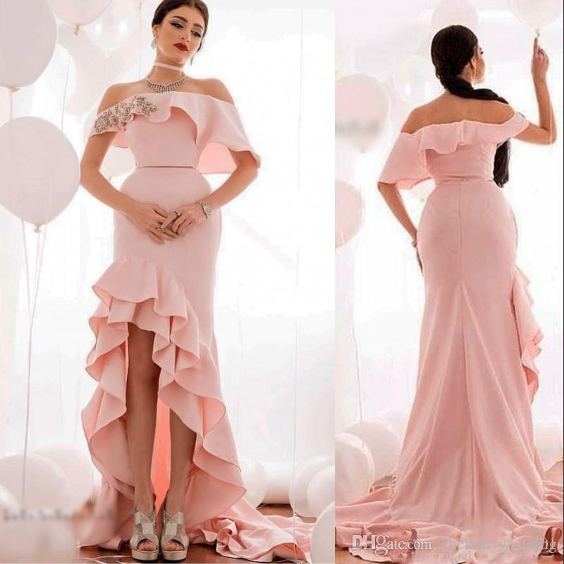 High Low Pink Prom Dresses Layers Halter Off The Shoulder Mermaid ...