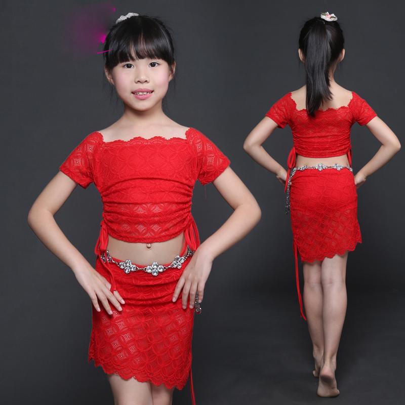 00733fa52e1 Acheter Costumes De Danse Du Ventre Filles Manches Courtes Dentelle  Bellydance Top Jupe Vêtements Indiens Bollywood Pour Enfants Scène De Danse  Usure Dn2286 ...