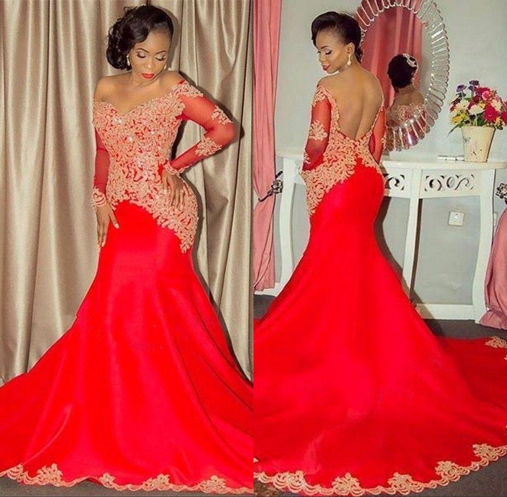 082a0ea5ece7b9 Sexy rouge robes de bal à manches longues sirène de l'épaule robe de soirée  en dentelle or appliques 2018 formelle robes de fête arabe