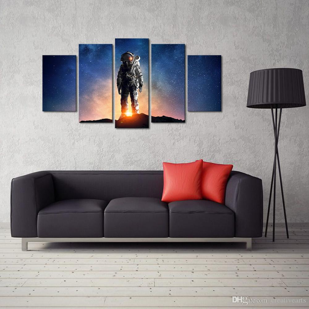No Frame / Unstretched Astronaut In Outer Space Canvas Wall Art Prints Starlight Pictures Home Decoration Stampe su tela camera dei bambini