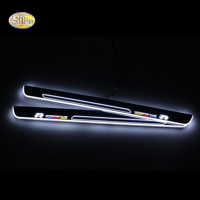 SNCN LED moving light scuff pedal for Volkwagen Golf 7 2014-2015 car acrylic led door sill welcome pedal