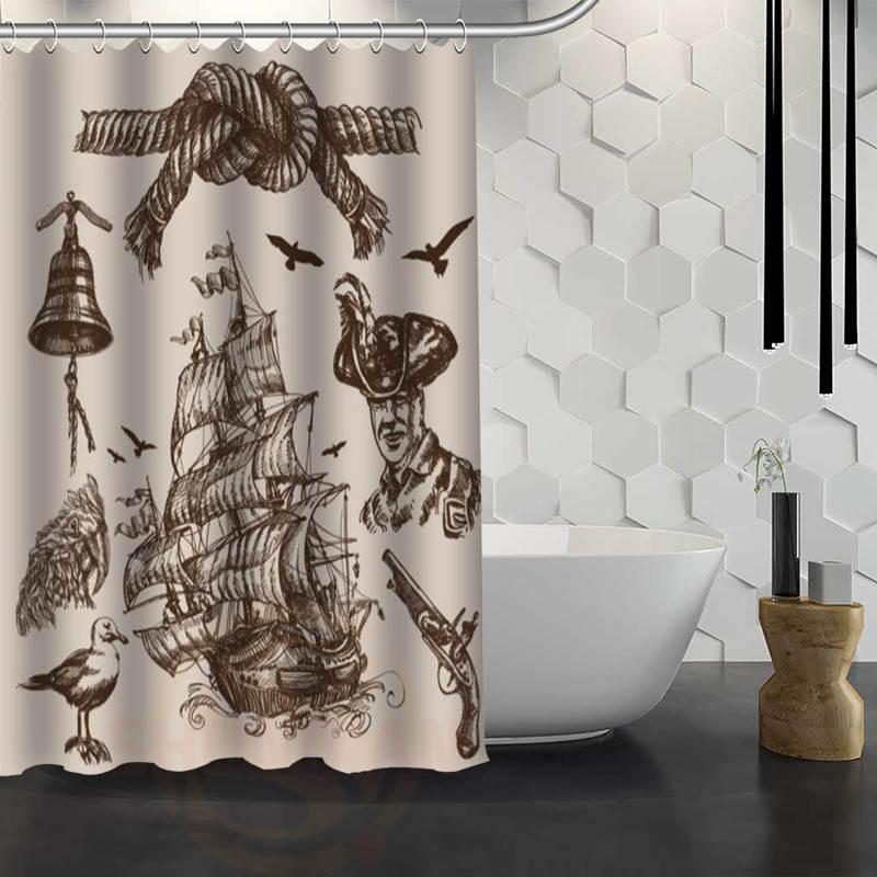 2019 New Pirate Ship Custom Shower Curtain With Hooks Fabric Bath For Bathroom WJY117 From Sheiler 2808