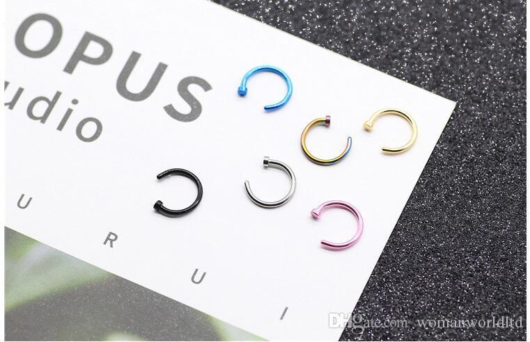 حلقات الأنف هيئة ثقب المجوهرات الأزياء والمجوهرات الفولاذ الصلب الأنف هوب الدائري حلق ترصيع خواتم الأنف وهمية غير ثقب خواتم
