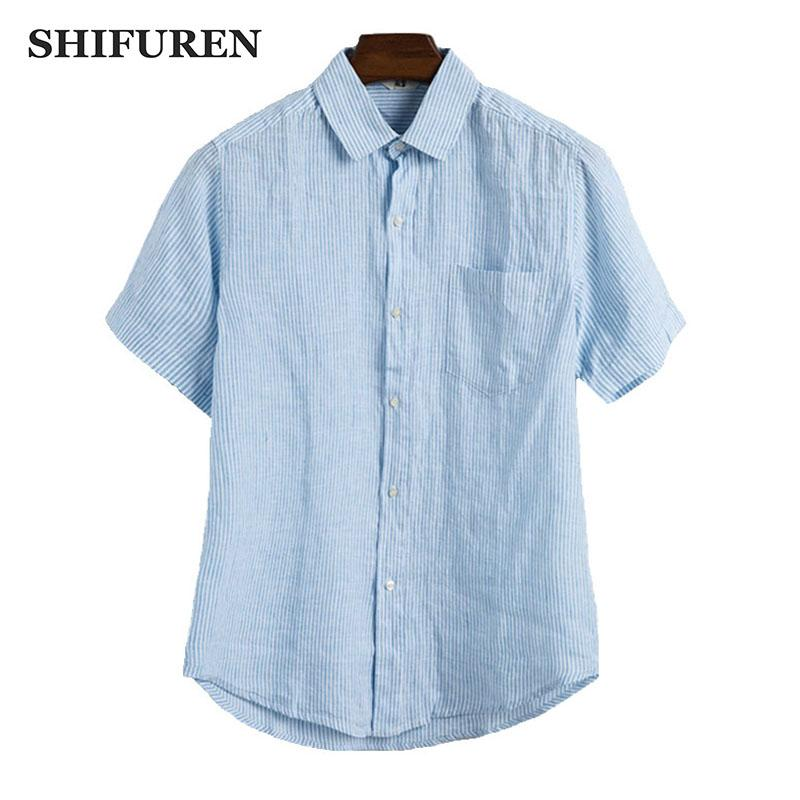 f24656dbed 2019 SHIFUREN 2018 Summer Men Striped Linen Shirts Short Sleeve Thin  Breathable Casual Dress Shirts Turn Down Collar Male Clothes From Baica